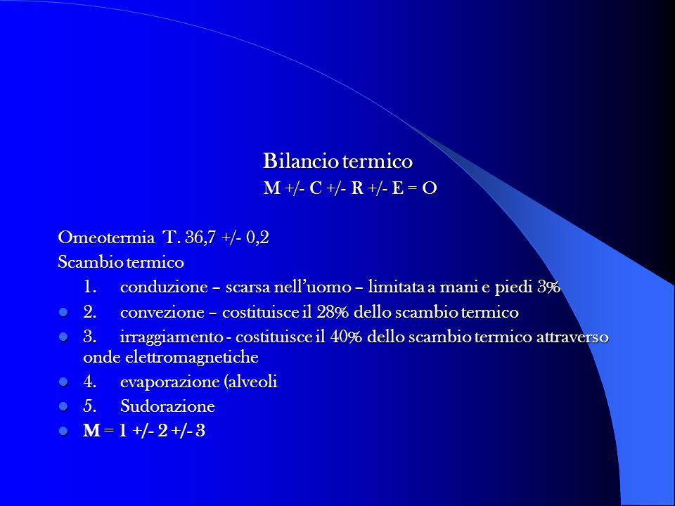 Bilancio termico M +/- C +/- R +/- E = O Omeotermia T. 36,7 +/- 0,2