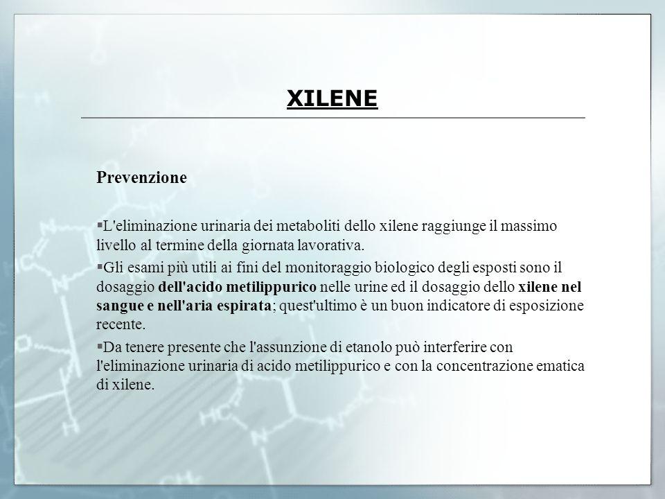 XILENE Prevenzione. L eliminazione urinaria dei metaboliti dello xilene raggiunge il massimo livello al termine della giornata lavorativa.