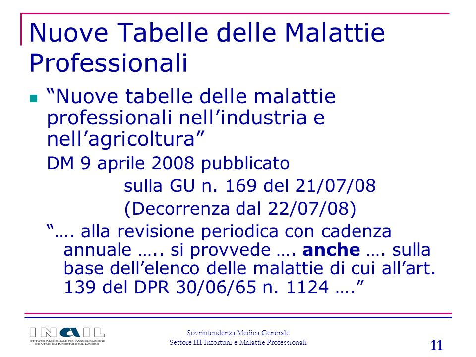 Nuove Tabelle delle Malattie Professionali