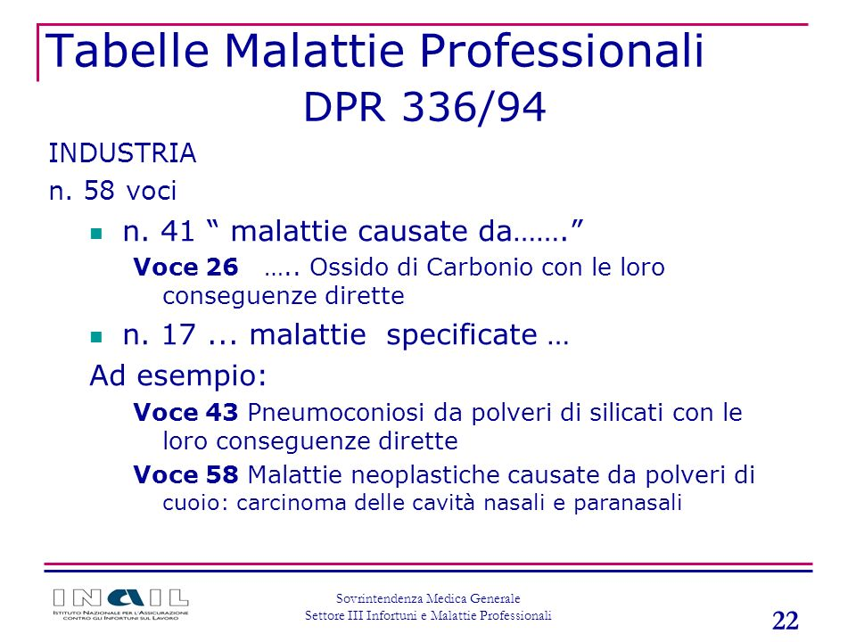 Tabelle Malattie Professionali DPR 336/94