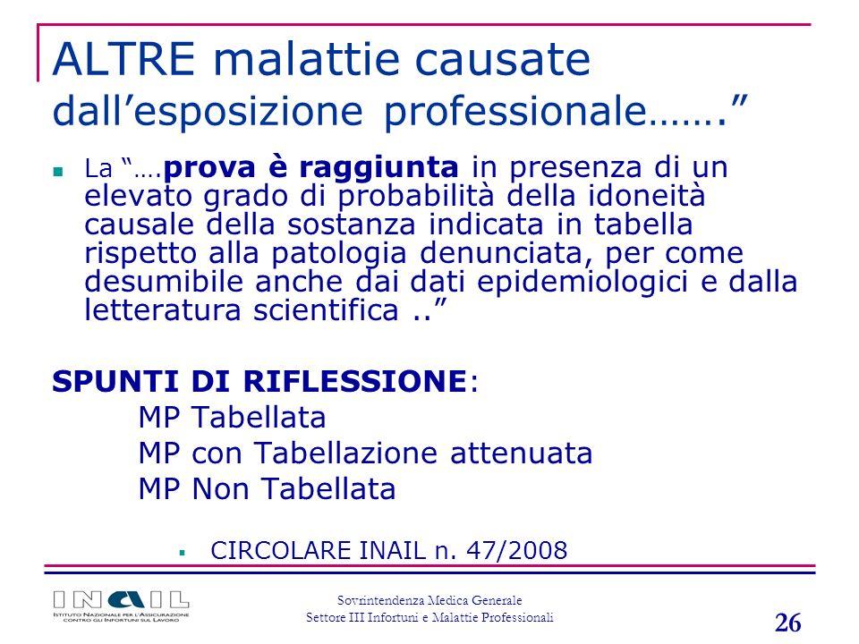 ALTRE malattie causate dall'esposizione professionale…….