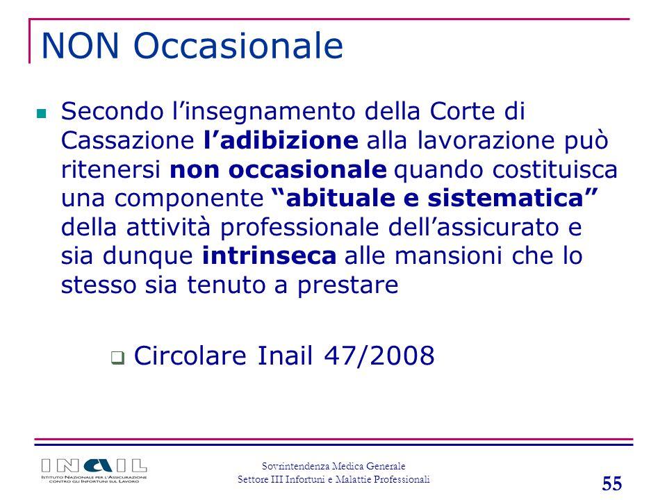 NON Occasionale Circolare Inail 47/2008