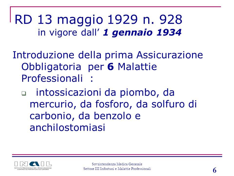 RD 13 maggio 1929 n. 928 in vigore dall' 1 gennaio 1934. Introduzione della prima Assicurazione Obbligatoria per 6 Malattie Professionali :