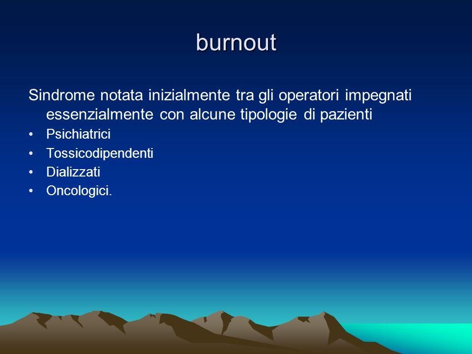 burnout Sindrome notata inizialmente tra gli operatori impegnati essenzialmente con alcune tipologie di pazienti.