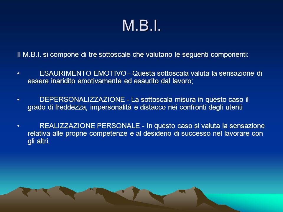 M.B.I. Il M.B.I. si compone di tre sottoscale che valutano le seguenti componenti: