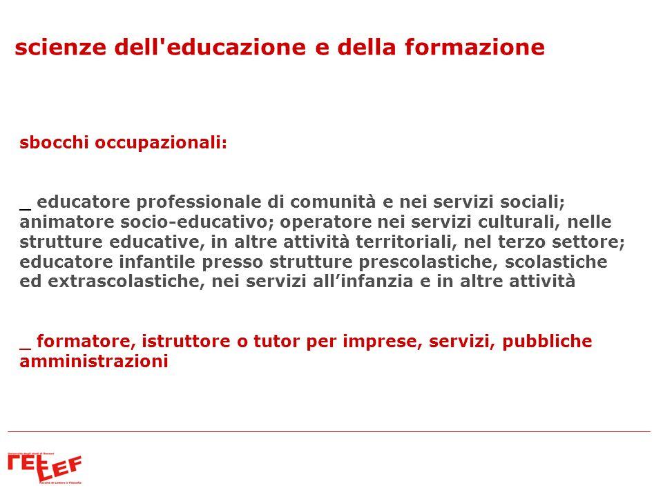 scienze dell educazione e della formazione