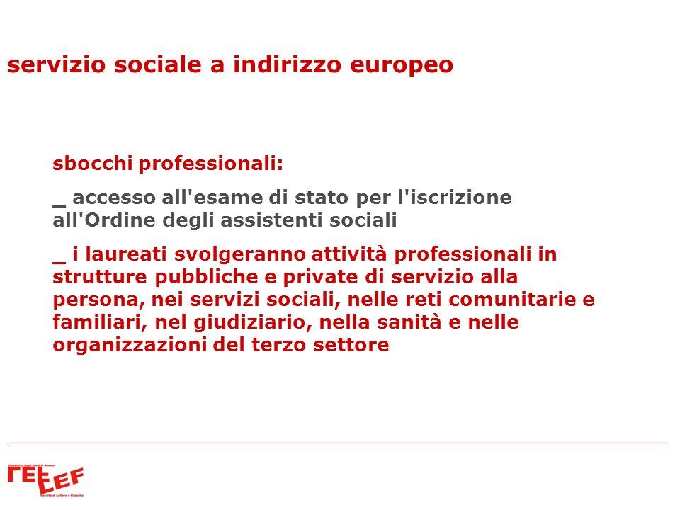 servizio sociale a indirizzo europeo