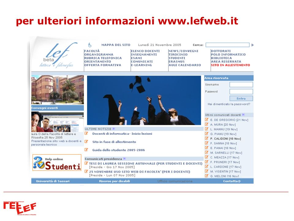 per ulteriori informazioni www.lefweb.it