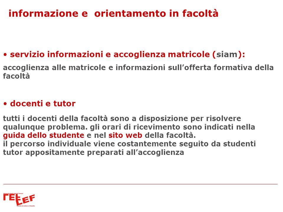 informazione e orientamento in facoltà