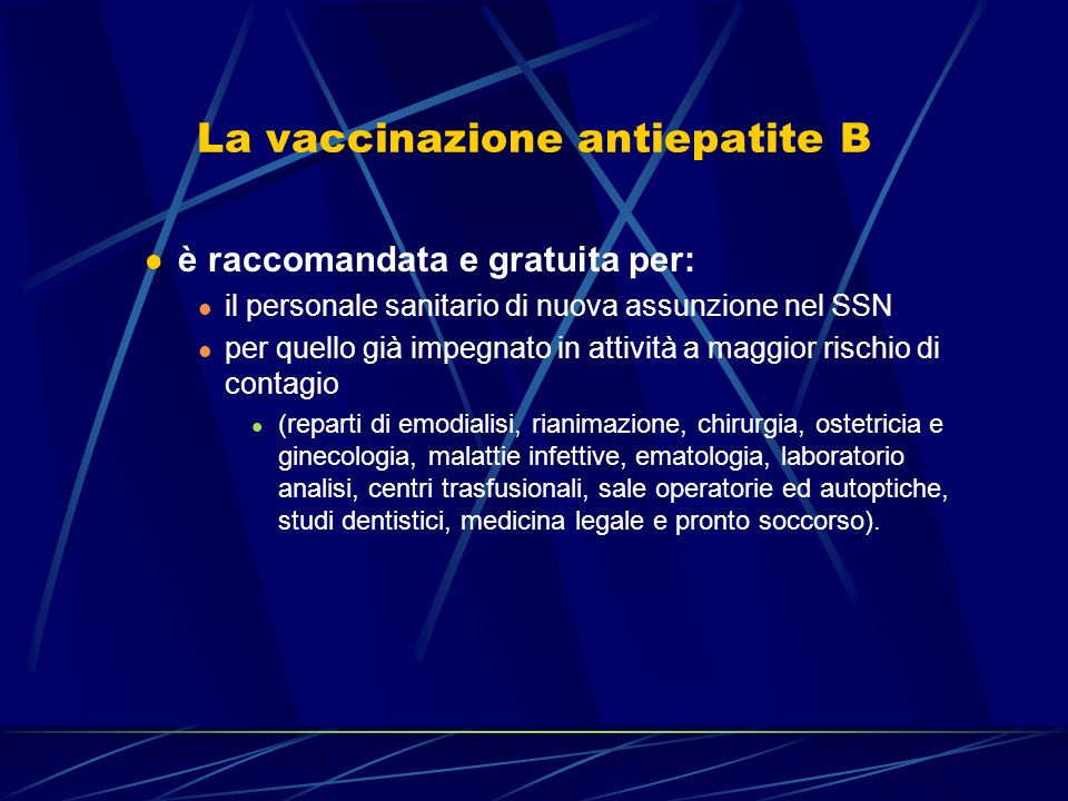 La vaccinazione antiepatite B