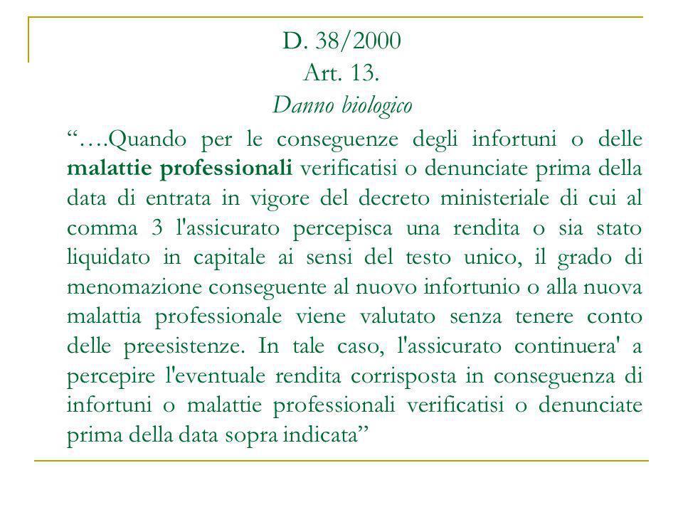 D. 38/2000 Art. 13. Danno biologico