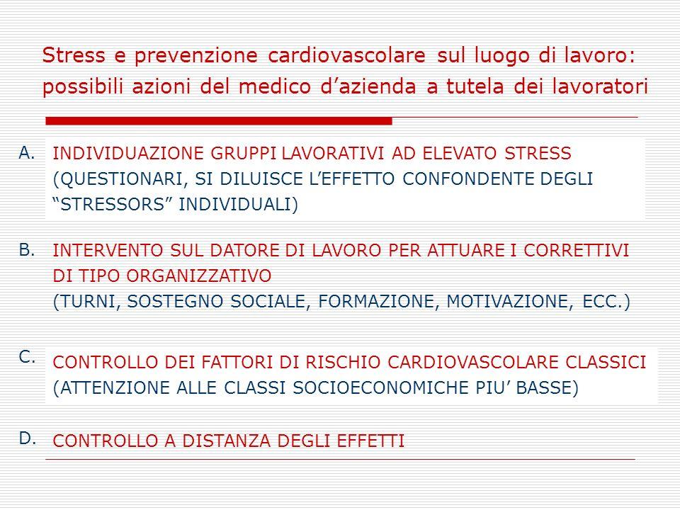 Stress e prevenzione cardiovascolare sul luogo di lavoro: