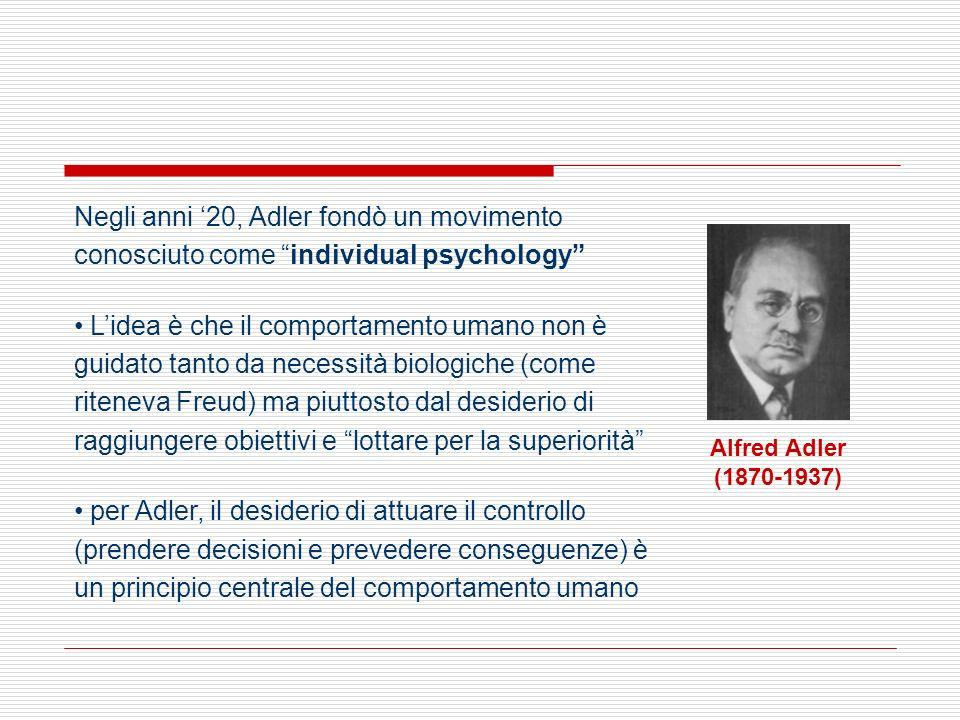 Negli anni '20, Adler fondò un movimento conosciuto come individual psychology