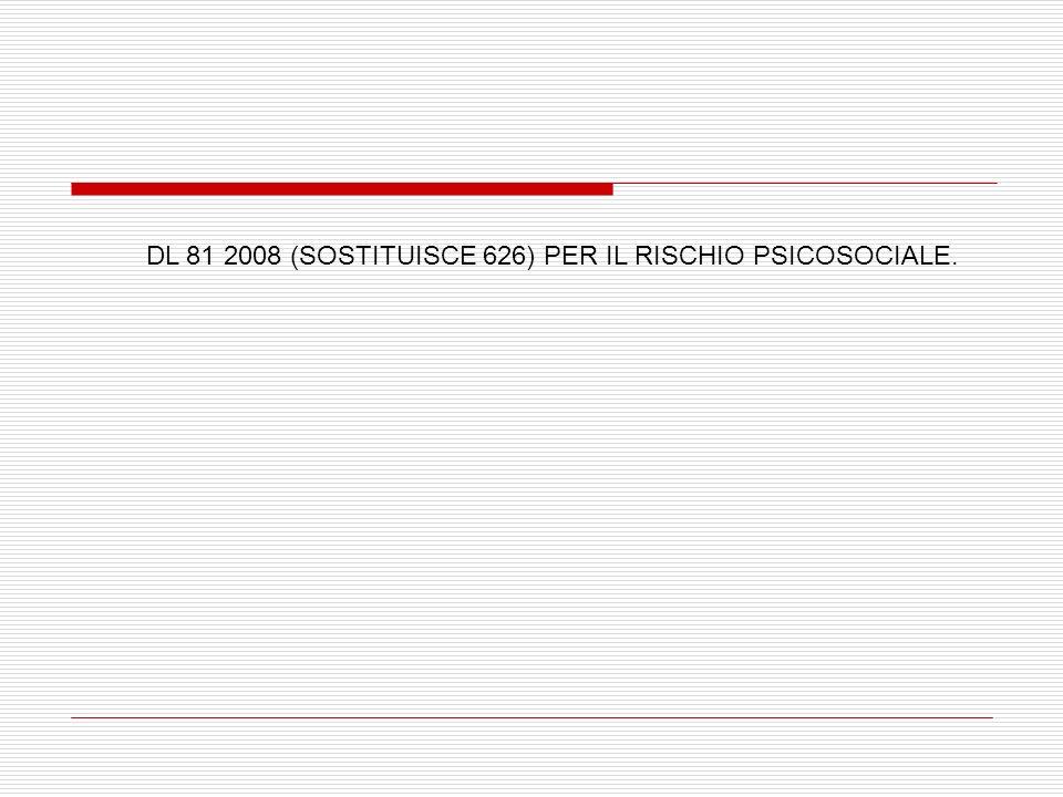 DL 81 2008 (SOSTITUISCE 626) PER IL RISCHIO PSICOSOCIALE.