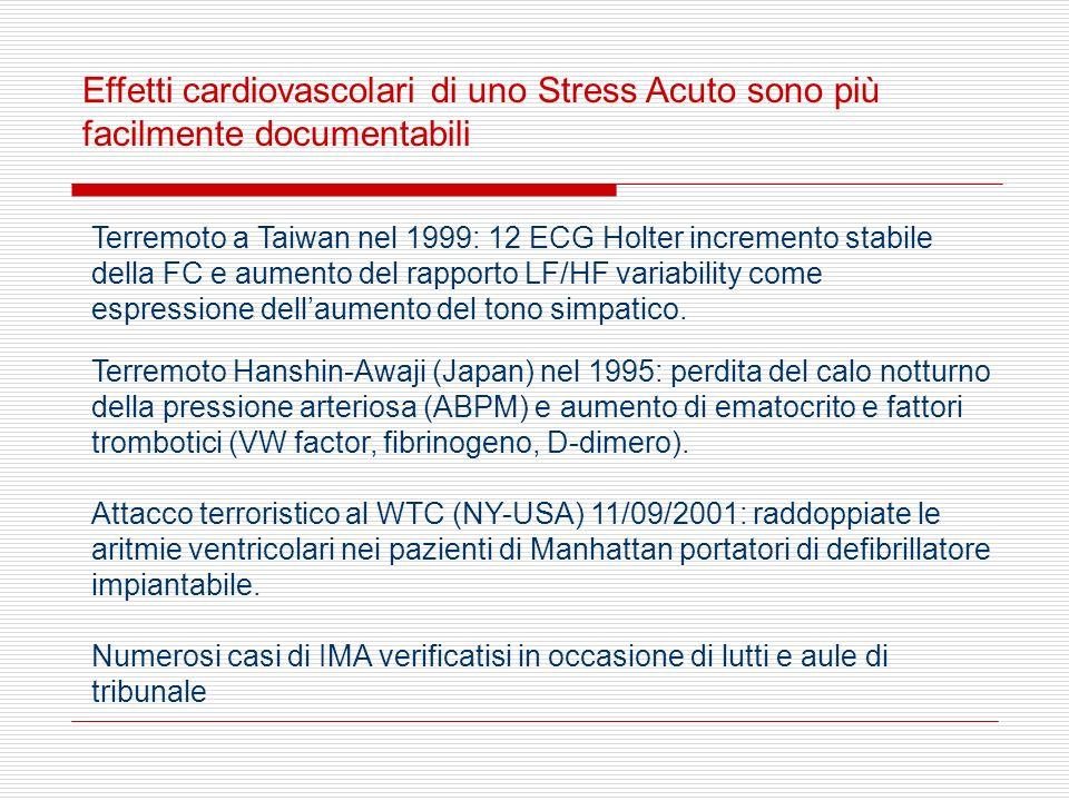 Effetti cardiovascolari di uno Stress Acuto sono più facilmente documentabili