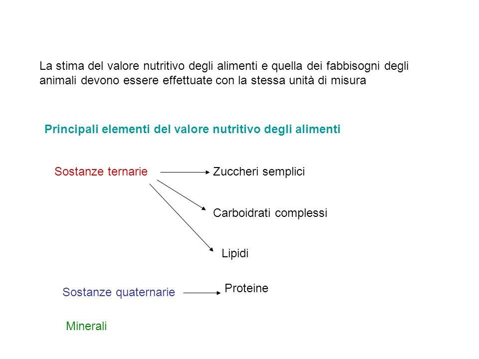 La stima del valore nutritivo degli alimenti e quella dei fabbisogni degli animali devono essere effettuate con la stessa unità di misura