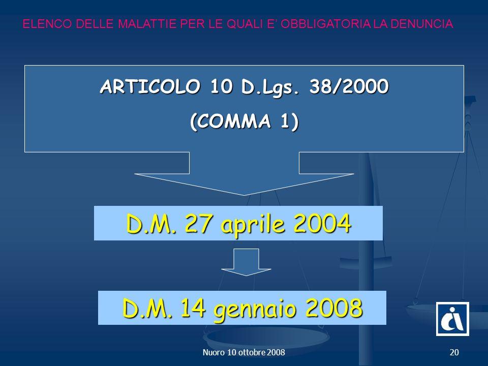 D.M. 27 aprile 2004 D.M. 14 gennaio 2008 ARTICOLO 10 D.Lgs. 38/2000