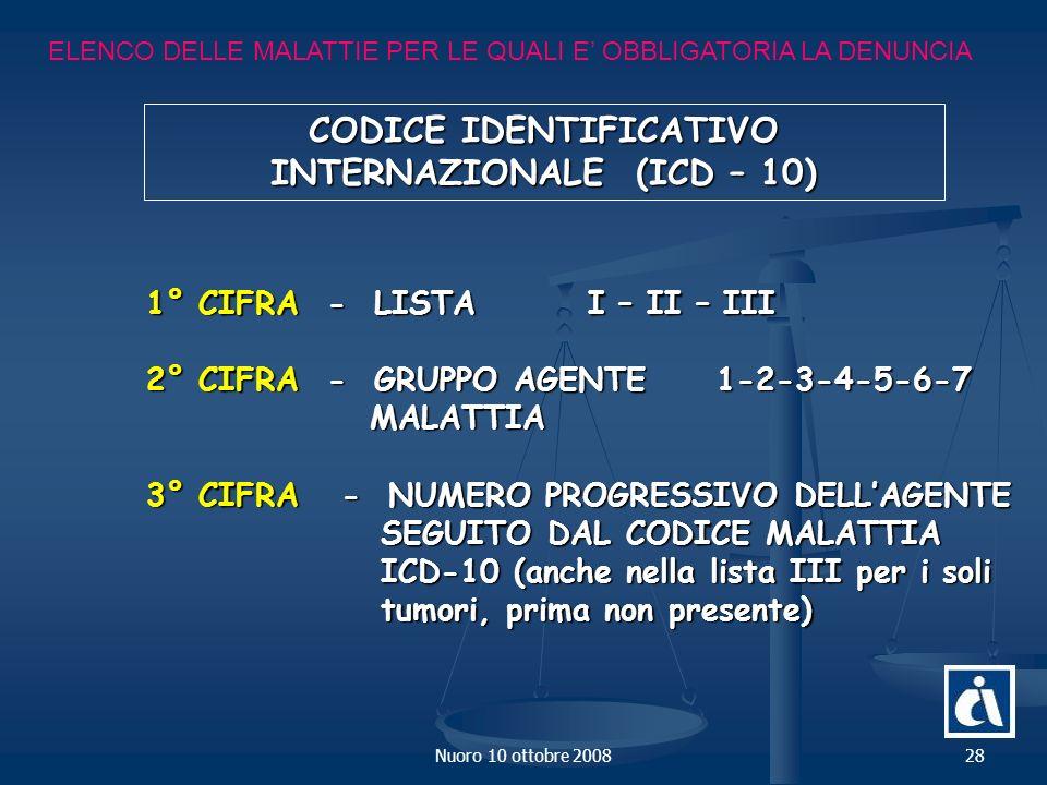 CODICE IDENTIFICATIVO INTERNAZIONALE (ICD – 10)
