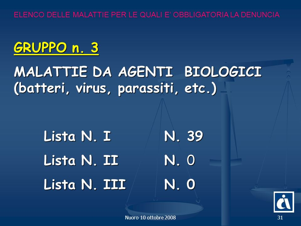 MALATTIE DA AGENTI BIOLOGICI (batteri, virus, parassiti, etc.)
