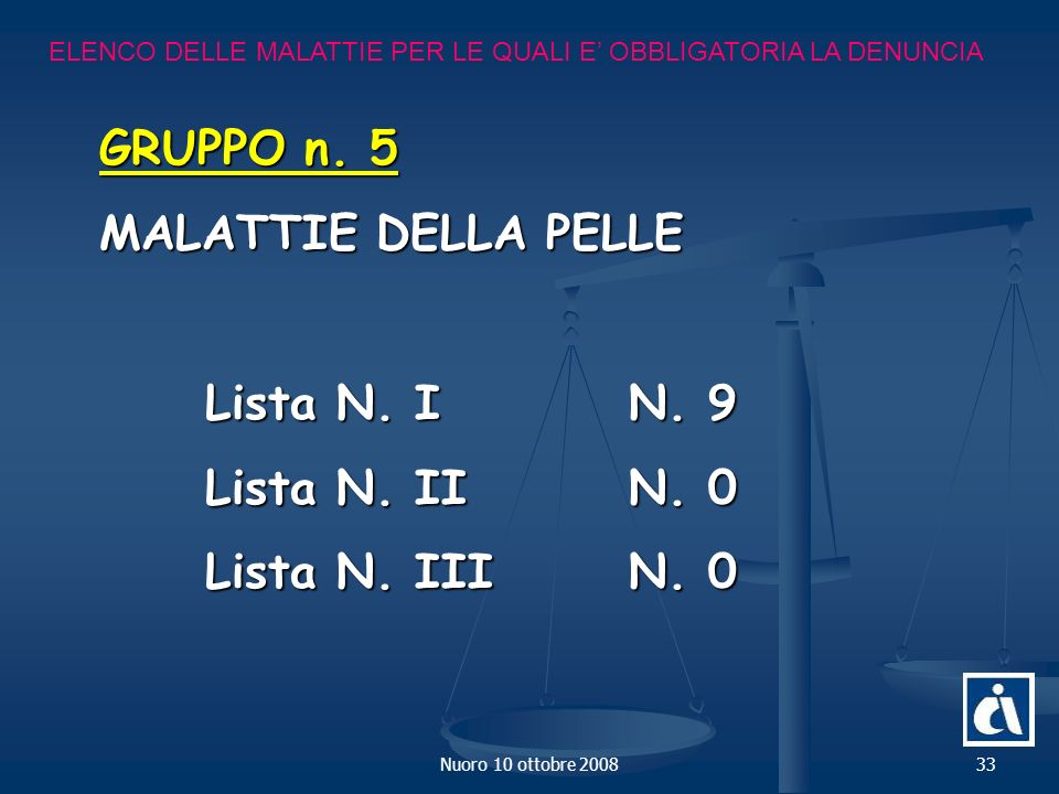 GRUPPO n. 5 MALATTIE DELLA PELLE Lista N. I N. 9 Lista N. II N. 0