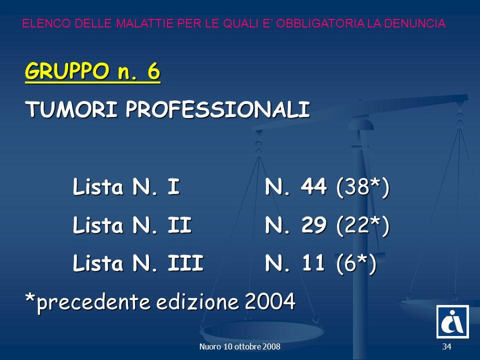GRUPPO n. 6 TUMORI PROFESSIONALI Lista N. I N. 44 (38*)