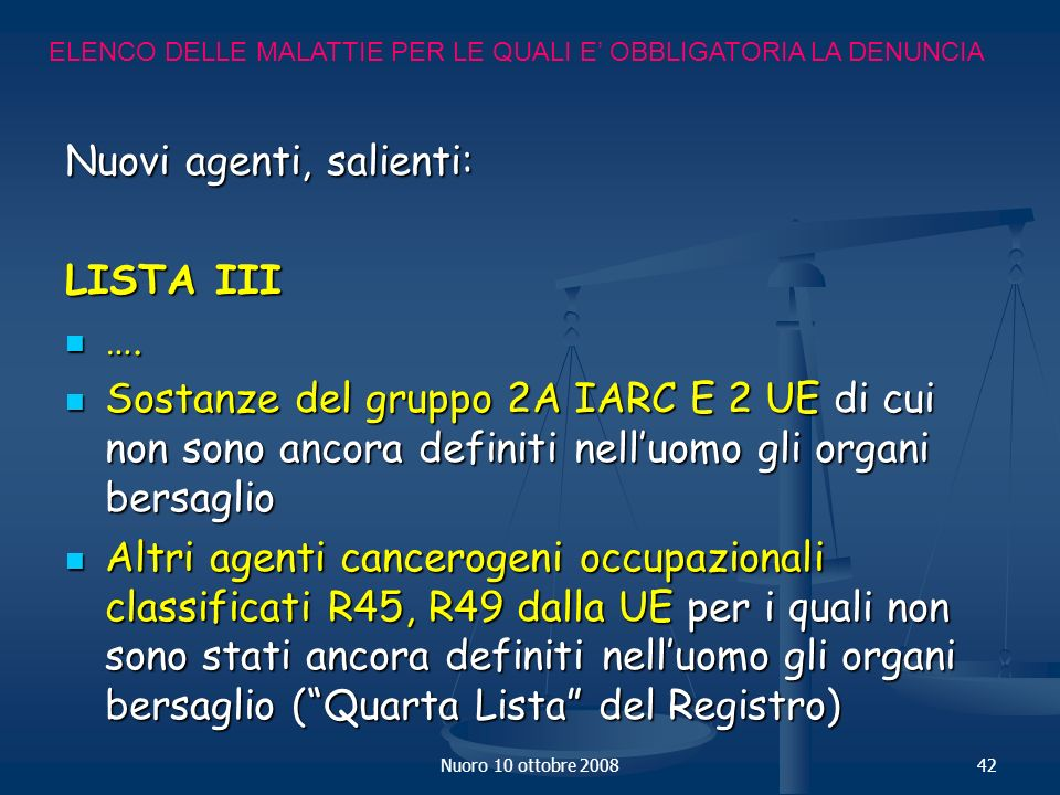 Nuovi agenti, salienti: LISTA III ….