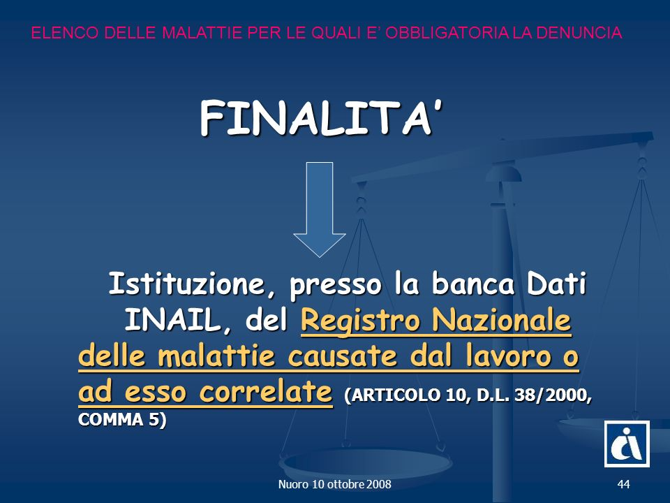 Istituzione, presso la banca Dati INAIL, del Registro Nazionale