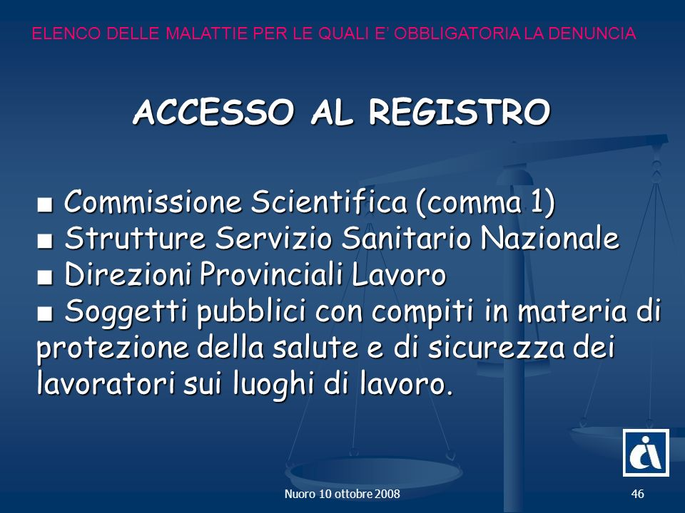 ACCESSO AL REGISTRO ■ Commissione Scientifica (comma 1)