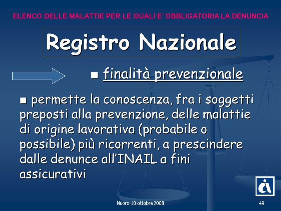Registro Nazionale ■ finalità prevenzionale