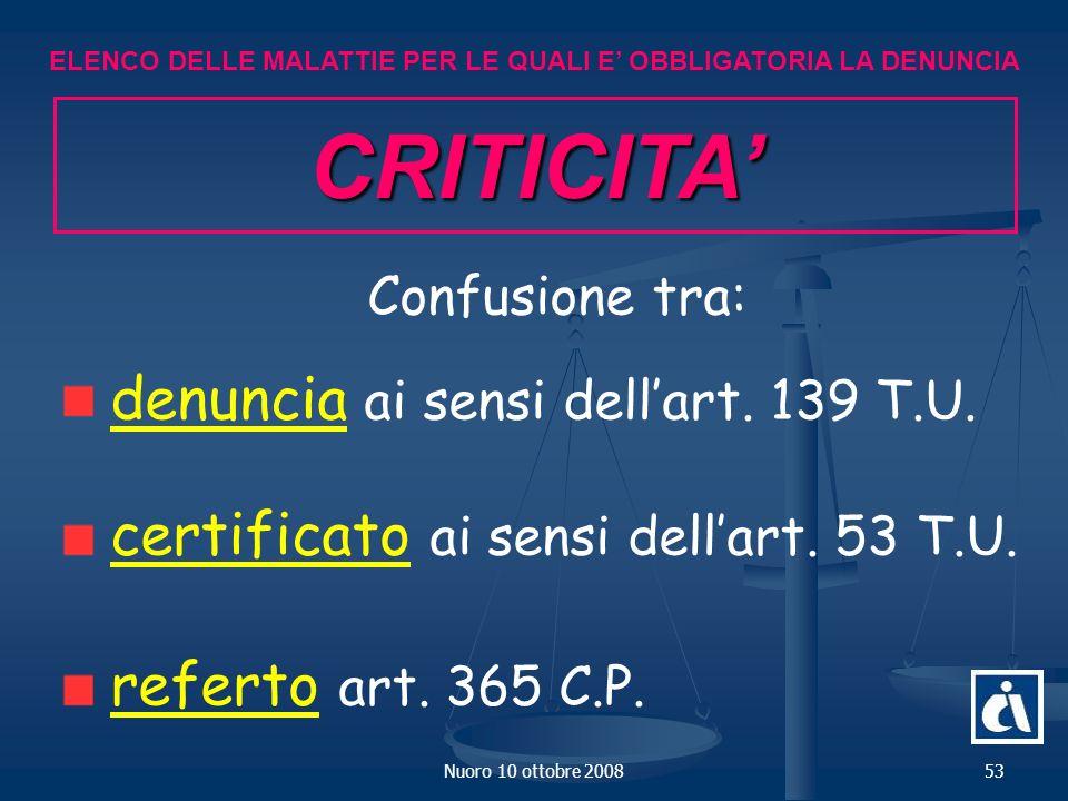 CRITICITA' Confusione tra: denuncia ai sensi dell'art. 139 T.U.