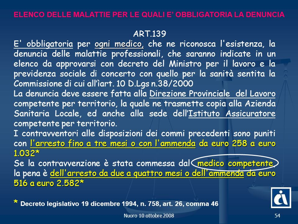 * Decreto legislativo 19 dicembre 1994, n. 758, art. 26, comma 46