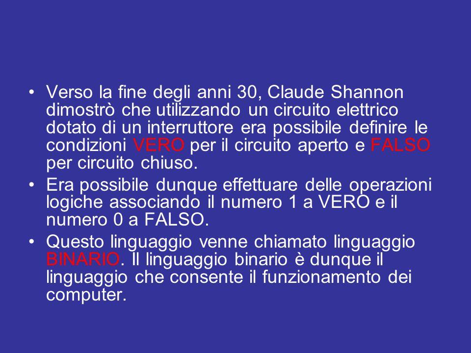 Verso la fine degli anni 30, Claude Shannon dimostrò che utilizzando un circuito elettrico dotato di un interruttore era possibile definire le condizioni VERO per il circuito aperto e FALSO per circuito chiuso.
