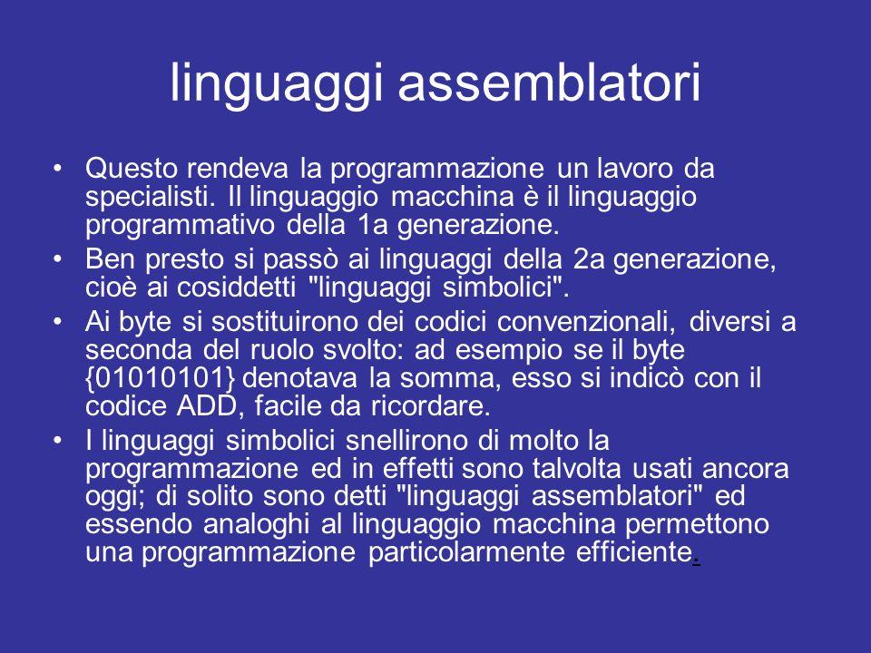 linguaggi assemblatori