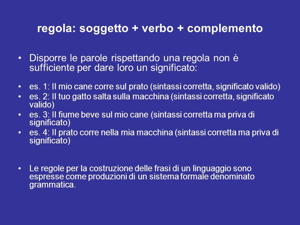 regola: soggetto + verbo + complemento