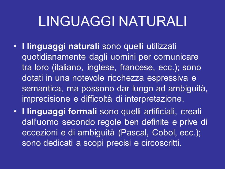 LINGUAGGI NATURALI