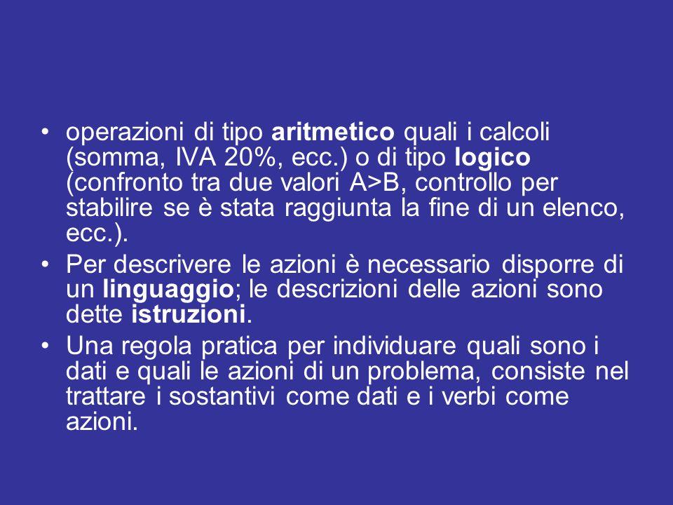 operazioni di tipo aritmetico quali i calcoli (somma, IVA 20%, ecc