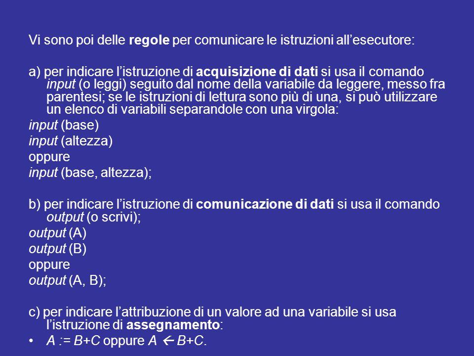 Vi sono poi delle regole per comunicare le istruzioni all'esecutore: