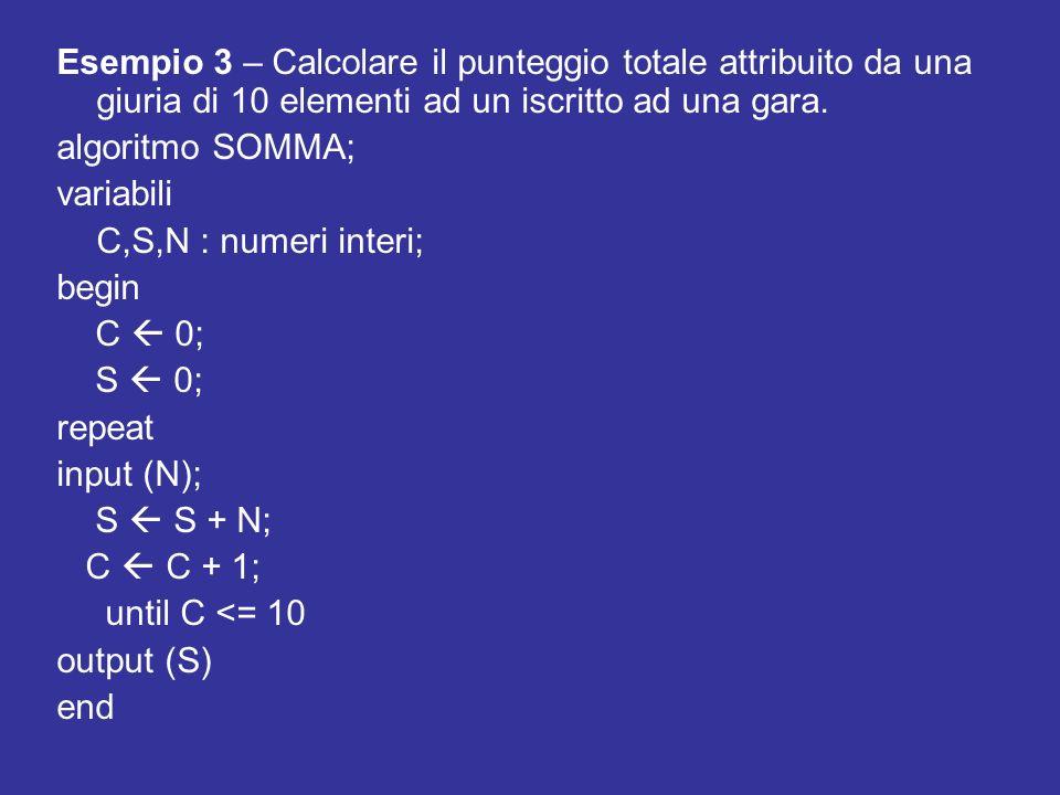 Esempio 3 – Calcolare il punteggio totale attribuito da una giuria di 10 elementi ad un iscritto ad una gara.