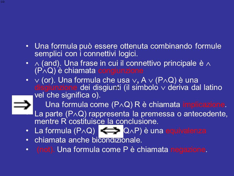 Una formula può essere ottenuta combinando formule semplici con i connettivi logici.