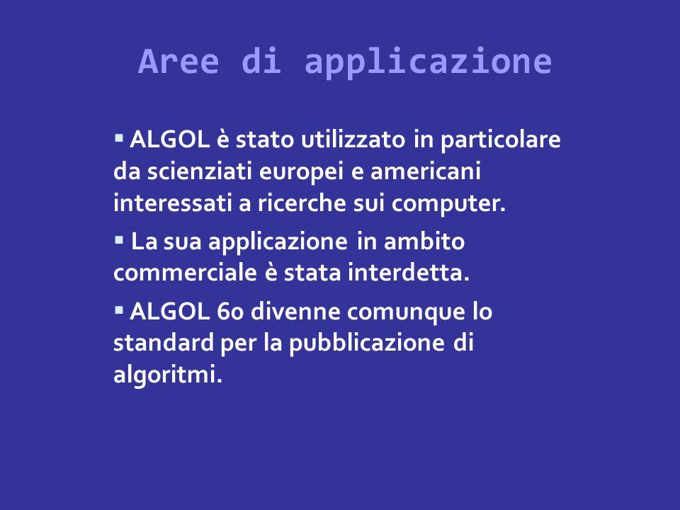 Aree di applicazioneALGOL è stato utilizzato in particolare da scienziati europei e americani interessati a ricerche sui computer.