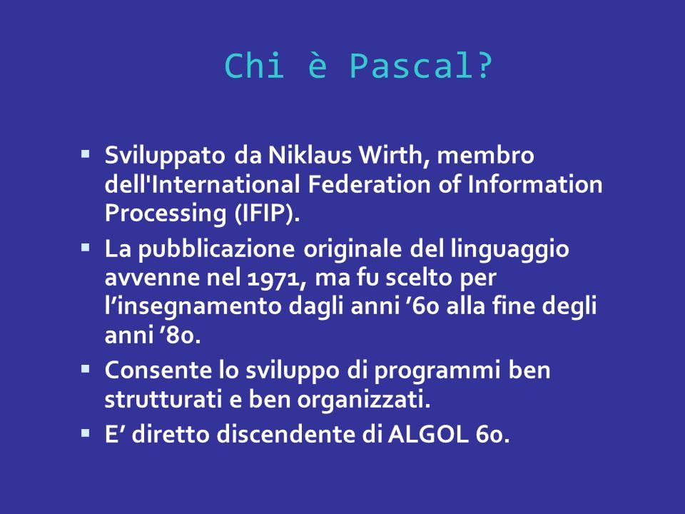 Chi è Pascal Sviluppato da Niklaus Wirth, membro dell International Federation of Information Processing (IFIP).