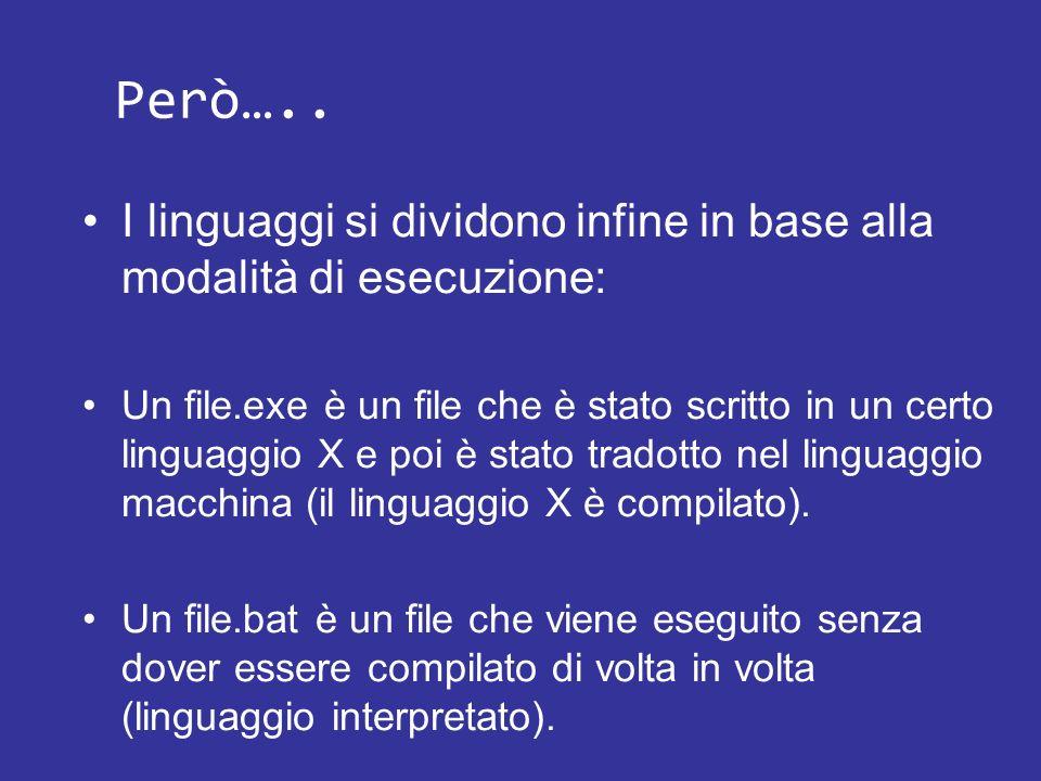 Però….. I linguaggi si dividono infine in base alla modalità di esecuzione: