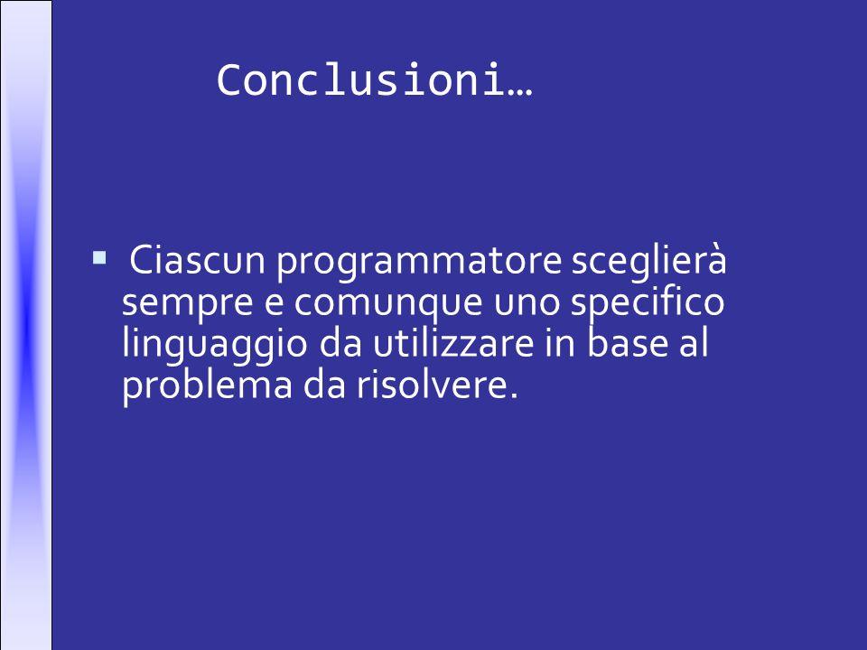 Conclusioni…Ciascun programmatore sceglierà sempre e comunque uno specifico linguaggio da utilizzare in base al problema da risolvere.