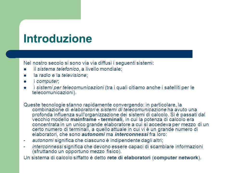 Introduzione Nel nostro secolo si sono via via diffusi i seguenti sistemi: il sistema telefonico, a livello mondiale;