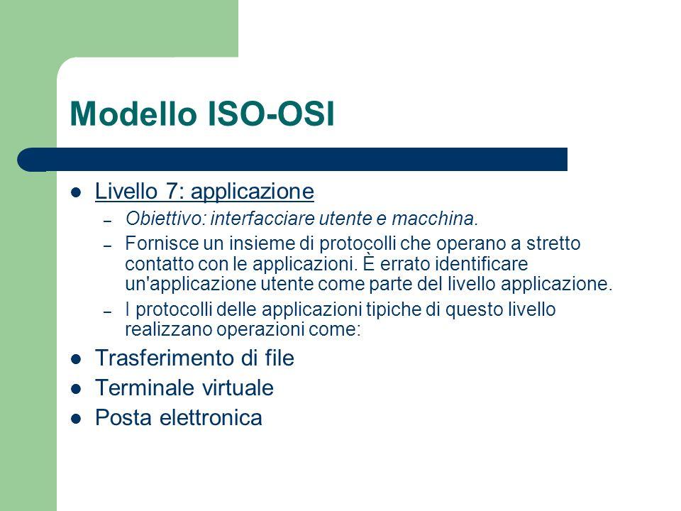 Modello ISO-OSI Livello 7: applicazione Trasferimento di file