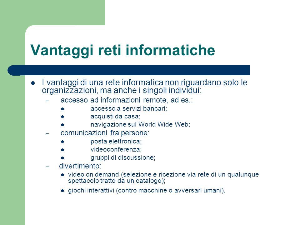 Vantaggi reti informatiche