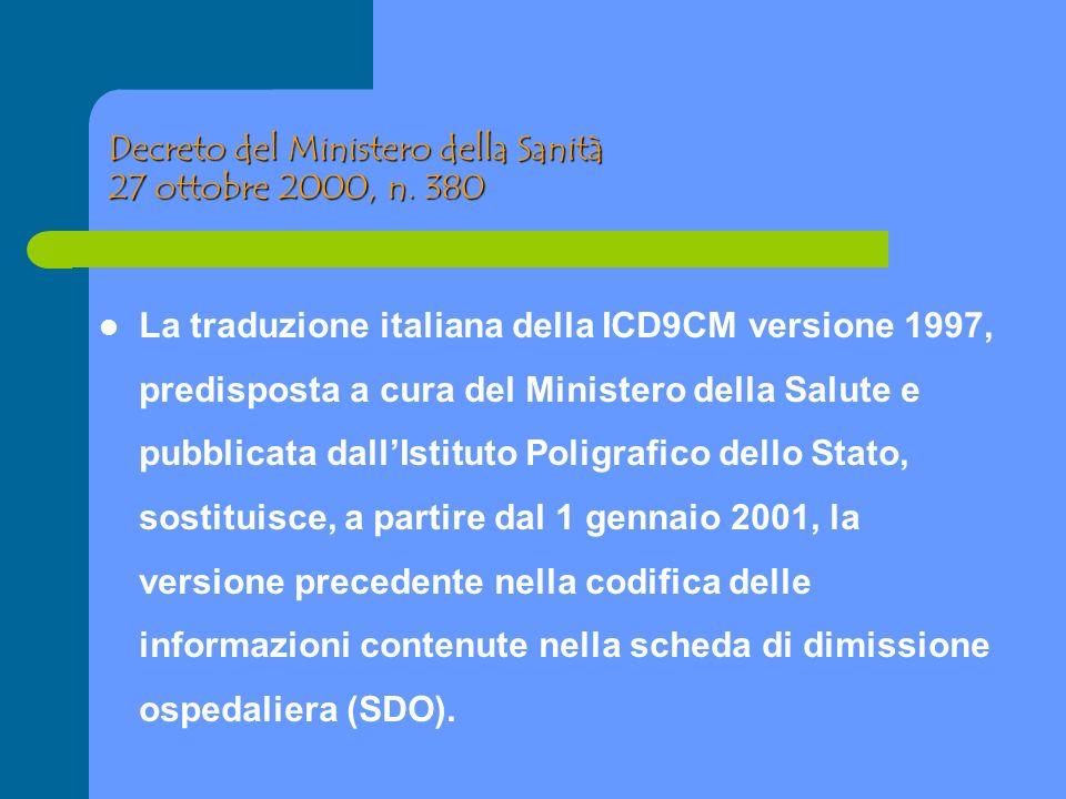 Decreto del Ministero della Sanità 27 ottobre 2000, n. 380