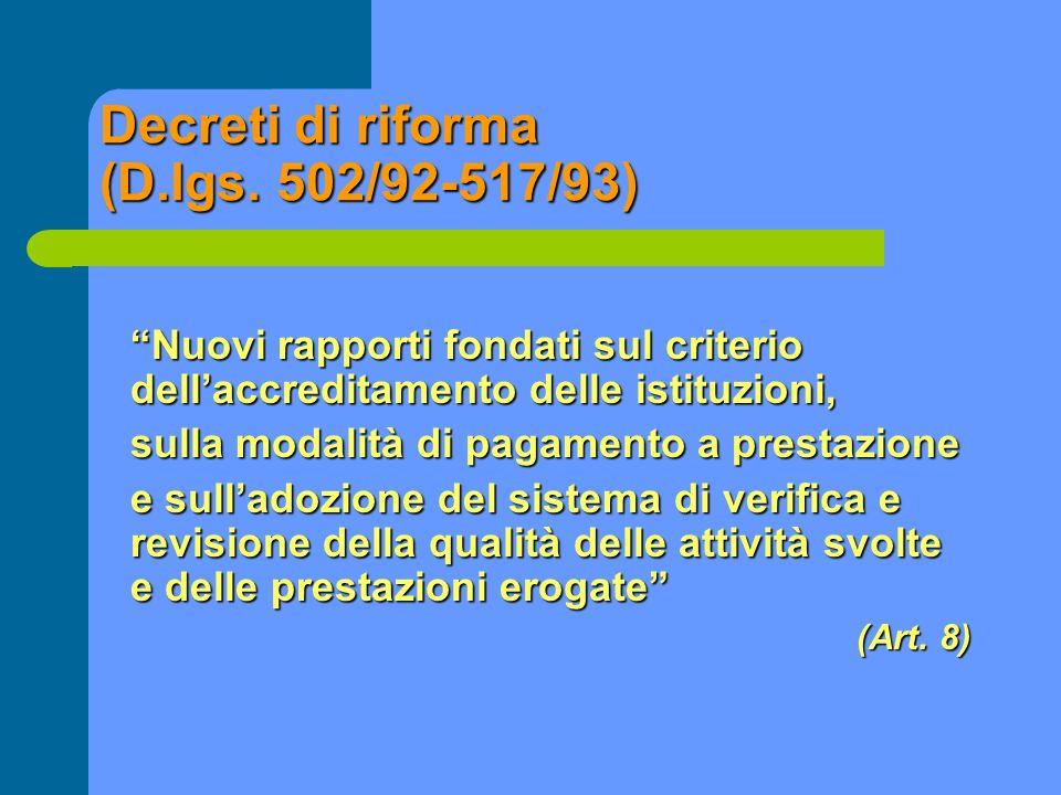 Decreti di riforma (D.lgs. 502/92-517/93)