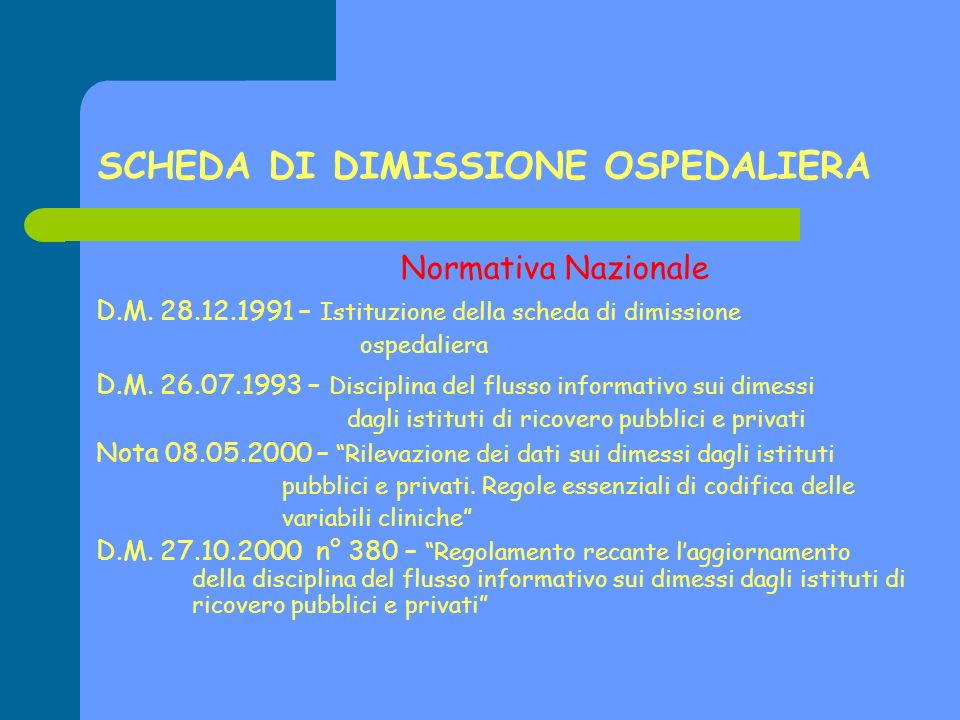 SCHEDA DI DIMISSIONE OSPEDALIERA
