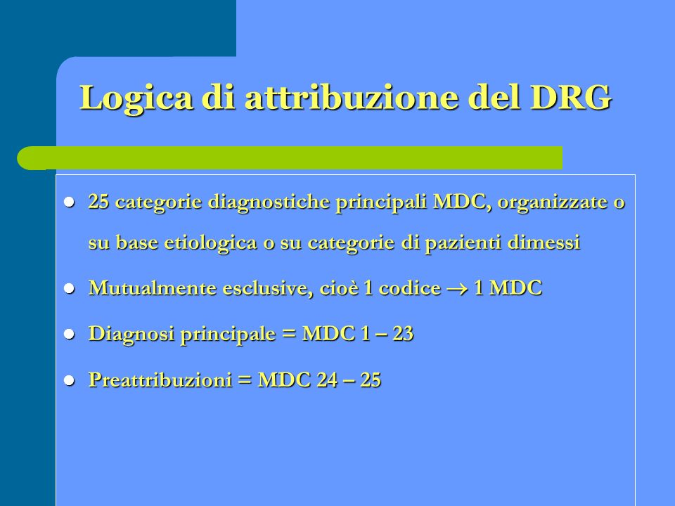Logica di attribuzione del DRG